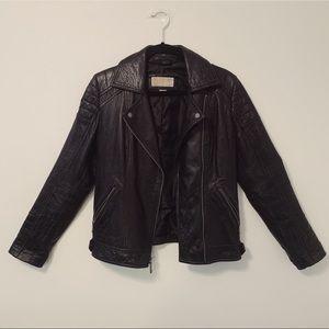 Michael Kors Leather Moto Jacket Black